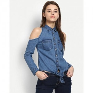 Stalkbuylove Blue Lorri Cold Shoulder Shirt