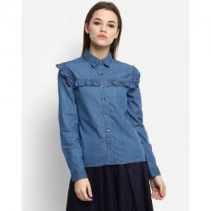 Stalkbuylove Blue Darlene Ruffle Denim Shirt