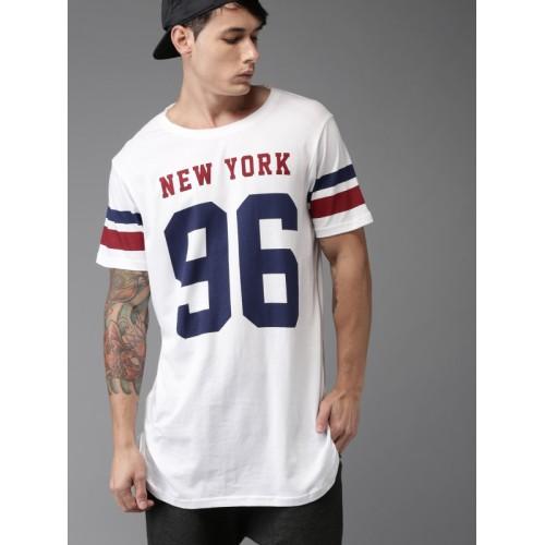 52c960254 Buy Moda Rapido Men White Printed Longline T-shirt online | Looksgud.in