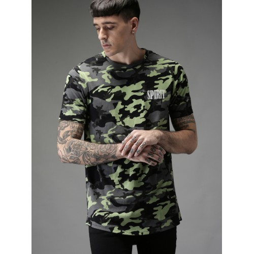 Moda Rapido Men Charcoal Grey & Black Printed Longline T-shirt