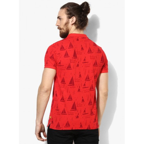 United Colors of Benetton Red Printed Regular Fit Polo T-Shirt