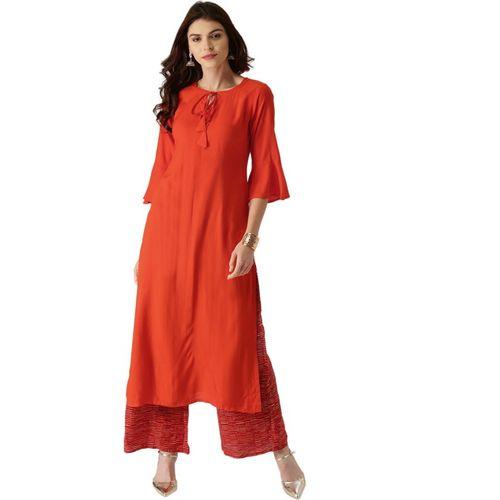 Libas Women Orange Viscose Rayon Solid Straight Kurta