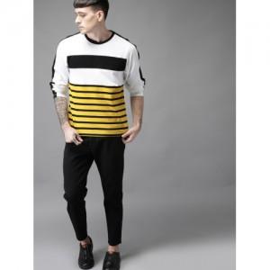 Moda Rapido Men White & Black Striped Round Neck T-shirt
