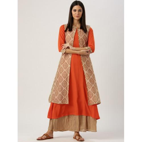 254163ace Buy Libas Women Orange Solid A-Line Kurta with Printed Ethnic Jacket ...