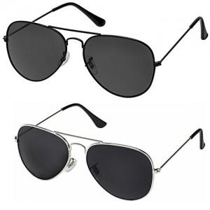 Silver Kartz Classic Aviator Combo for Unisex Sunglasses (AV001-0040 50 Black)
