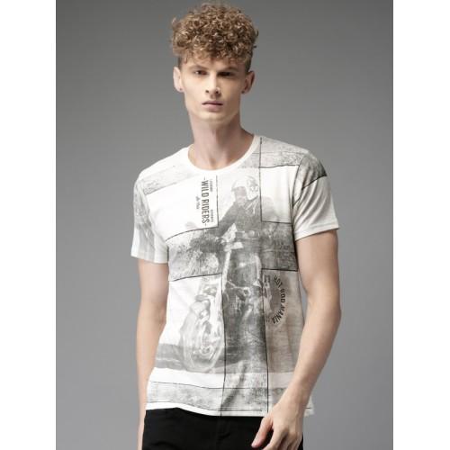 afcbb8708 Buy Moda Rapido Men Off-White Printed Round Neck T-shirt online ...