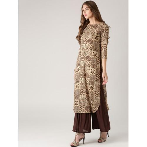 87f7feac6 Buy Libas Women Beige   Brown Printed Straight Kurta online ...
