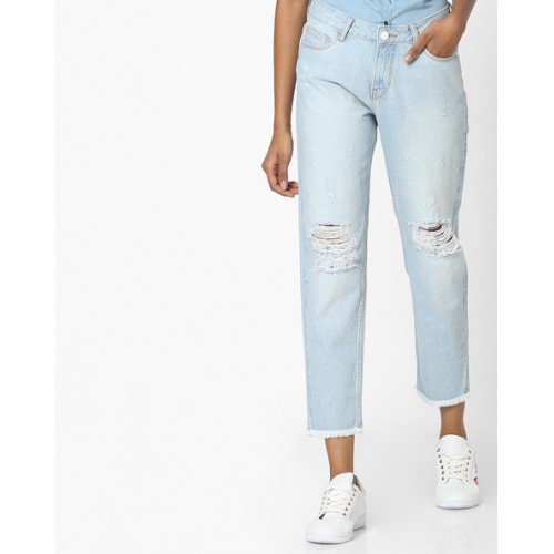 DNMX Mid-Calf Length Distressed Jeans