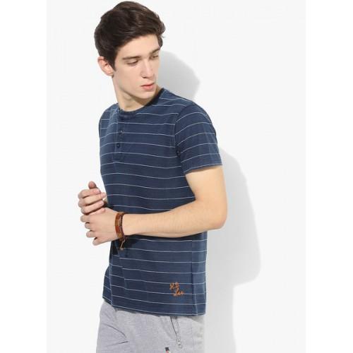 Lee Navy Blue Striped Regular Fit Henley T-Shirt