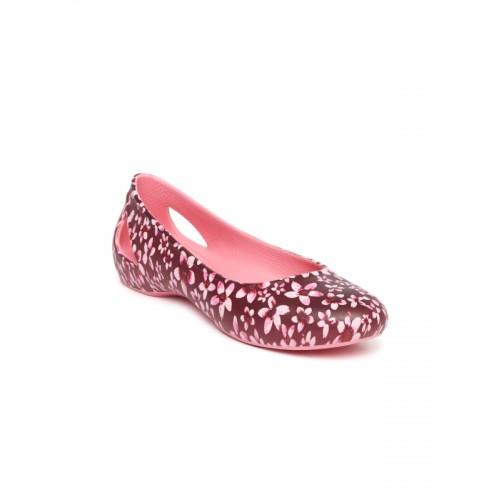 Crocs Laura Graphic Maroon Floral Belly Shoes