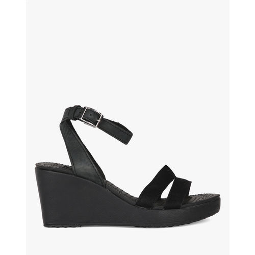 0607c96ef963fa Buy Crocs Leigh Black Ankle Strap Wedges online