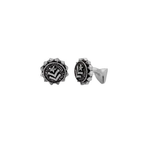 Voylla Designer Star Squad Oxidized Silver Cufflinks