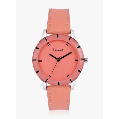 1af36c9e533 Buy Camerii Peach Leather Analog Watch online