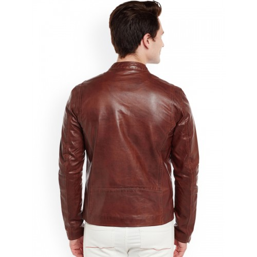 BARESKIN Men Brown Solid Lightweight Leather Jacket