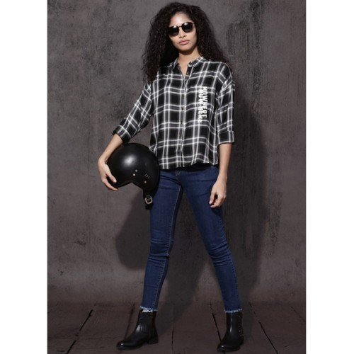 Roadster Women Black & White Boxy Fit Checked Casual Shirt