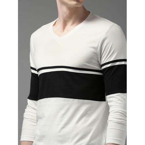 HERE&NOW Men White & Black Colourblocked V-Neck T-shirt