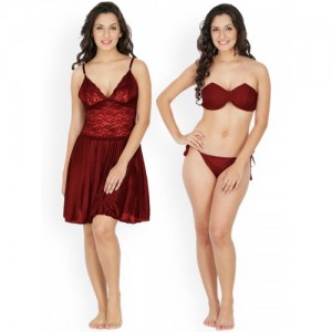 Klamotten Maroon Patterned Nightdress Set 221M-07