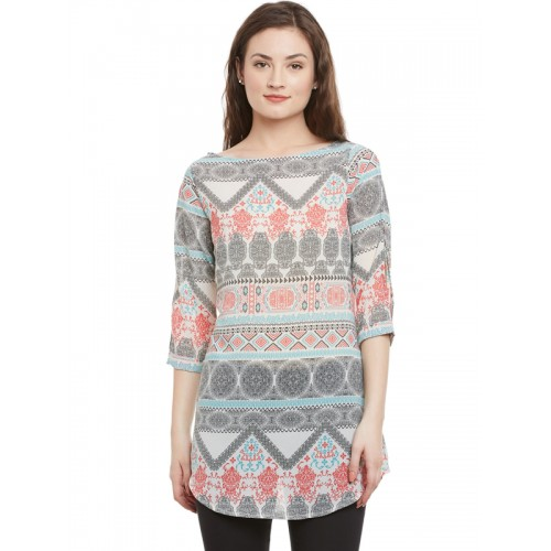 Ruhaans Off-White & Grey Printed Slim Fit A-Line Tunic