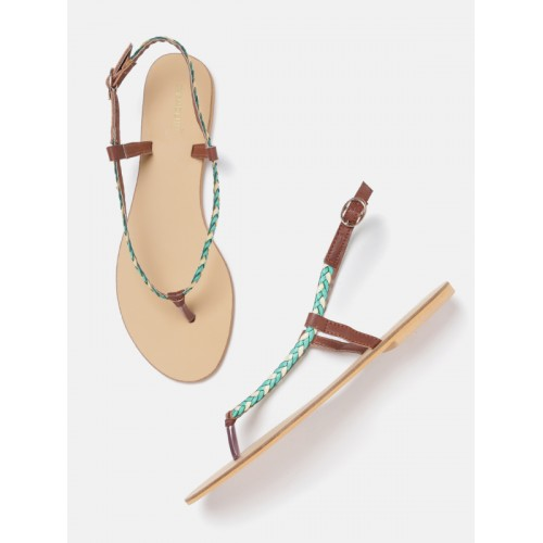 DressBerry Women Green & Off-White Braided Open Toe Flats