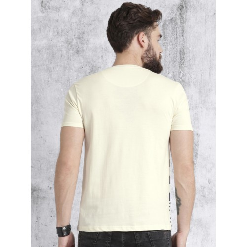 Roadster Men Cream-Coloured & Navy Striped Round Neck T-shirt