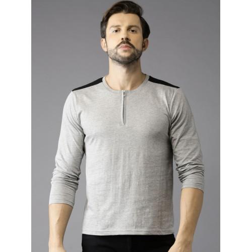 HERE&NOW Men Grey Melange Solid Round Neck T-shirt