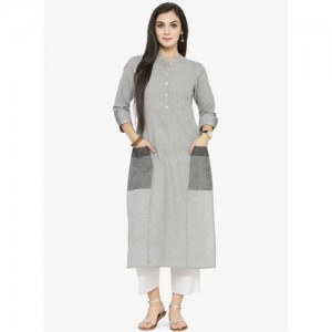Varanga Grey Cotton Striped Kurta Pants Set