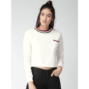 Harvard White Solid Sweatshirt