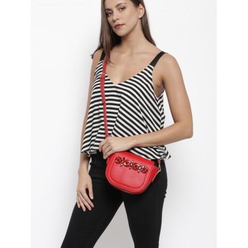 E2O Red Embellished Sling Bag