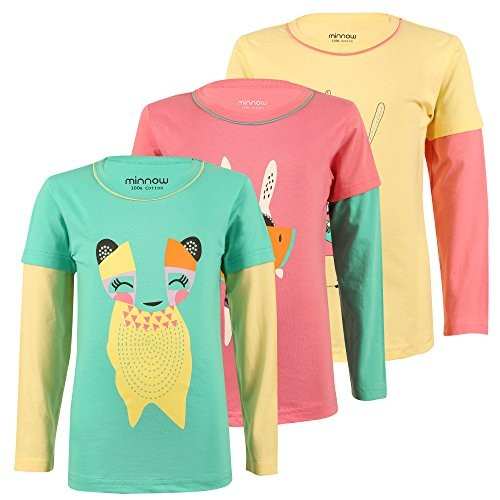 Minnow Girls Full sleeve Printed Cotton Tshirt -Pack of 3