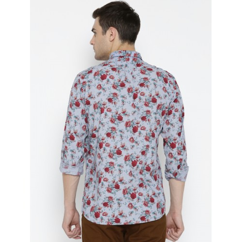 Blackberrys Men Blue & Rust Red Slim Fit Printed Casual Shirt