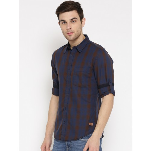 Roadster Men Blue & Olive Brown Checked Casual Shirt