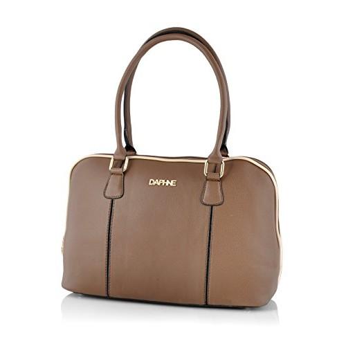 Daphne Brown Leather Solid Handbag (XB15-0017AS-14014)