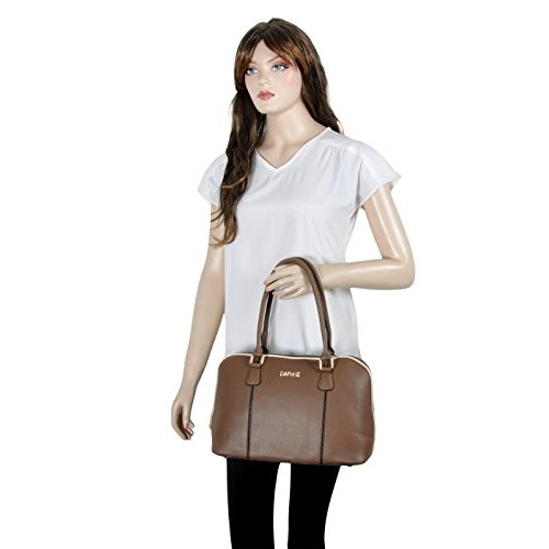 Daphne Brown Leather Solid Handbag (XB15-0017AS-14014)