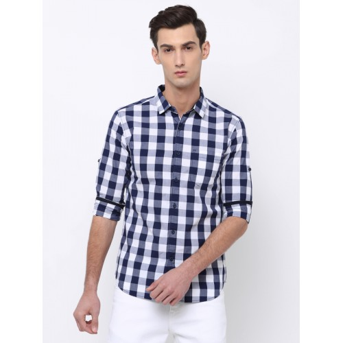 new release good texture soft and light Buy HIGHLANDER Men Navy Blue & White Slim Fit Checked Casual ...