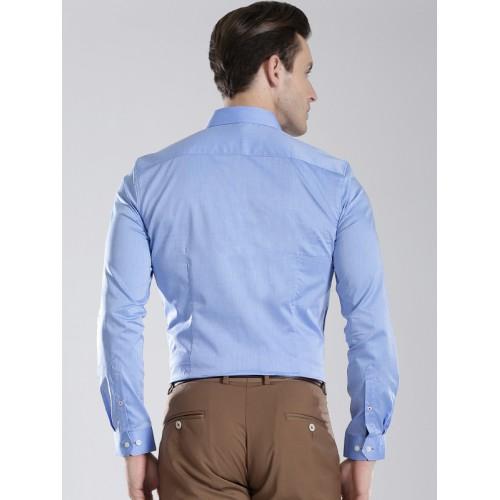 INVICTUS Supima Men Blue Slim Fit Semiformal Shirt