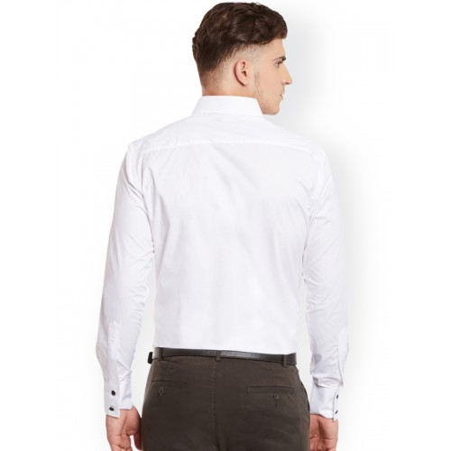 Dazzio Men White Smart Slim Fit Semiformal Shirt