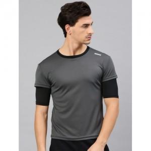 HRX Grey Solid Round Neck T-shirt