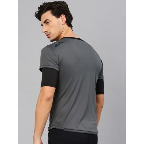 HRX Grey Solid Round Neck T-shirt
