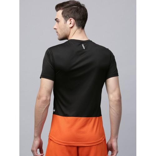 HRX Black & Orange Colourblocked Round Neck T-shirt