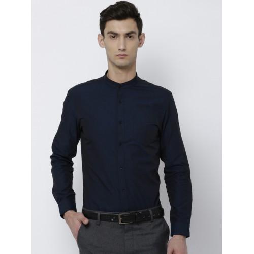 354bacaff2 Buy Black coffee Men Navy Blue Slim Fit Solid Semiformal Shirt online ...