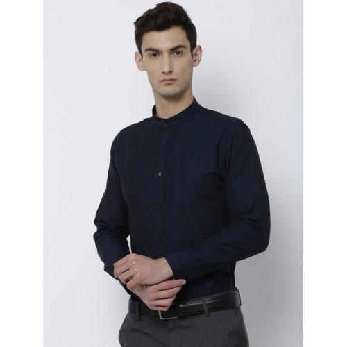 300f48c12c Buy Black coffee Men Navy Blue Slim Fit Solid Semiformal Shirt ...