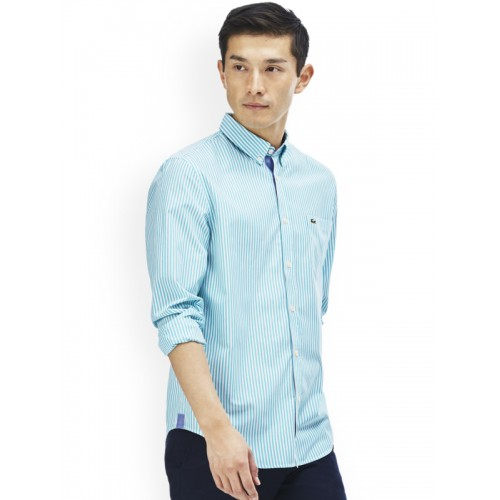 f66cc5bc4cb27 Buy Lacoste Men Blue   White Regular Fit Striped Semiformal Shirt ...