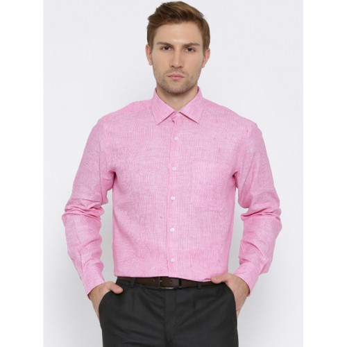 42e1c93857 ... Wills Lifestyle Men Pink Slim Fit Striped Linen Semiformal Shirt ...