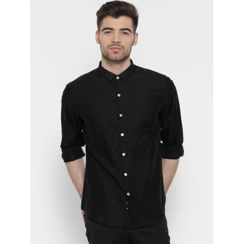 Buy Wills Lifestyle Men Black Slim Fit Dot Print Semiformal Shirt
