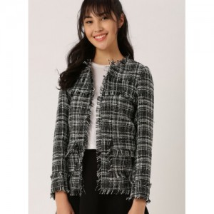 Dressberry Black Polyester Printed Shrug