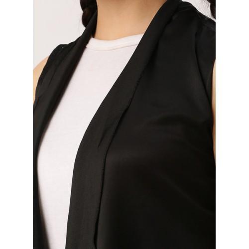 Dressberry Black Polyester Solid Shrug