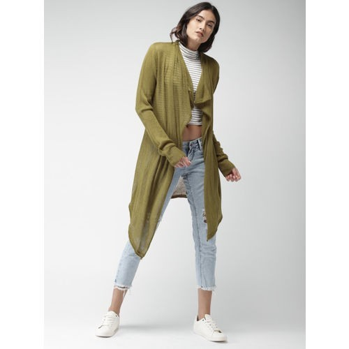 Mast & Harbour Olive Green Self-Design Open Front Shrug