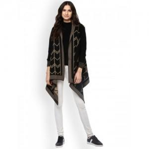 Cayman Black & Beige Wool Self Design Shrug
