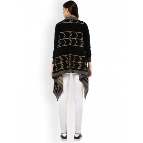 Cayman Black & Beige Wool Self Design Shrug