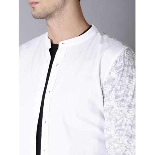 Kook N Keech Marvel Men Off-White Regular Fit Solid Casual Shirt